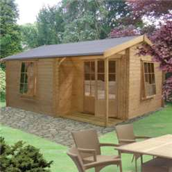 4.19m x 4.79m RINGWOOD APEX LOG CABIN - 28MM TONGUE AND GROOVE LOGS