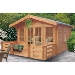4.19m x 2.39m GRIZEDALE LOG CABIN - 44MM TONGUE AND GROOVE LOGS