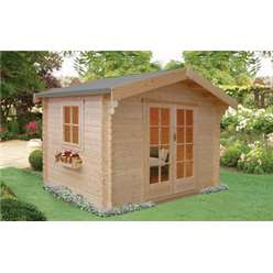 2.99m x 2.39m DALBY LOG CABIN - 70MM TONGUE AND GROOVE LOGS
