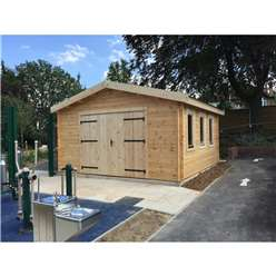 4.5m x 4.5m Premier Garage Log Cabin - Double Glazing + Toughened Safety Glass - No Floor - 44mm Wall Thickness