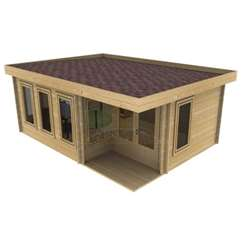 6m x 5.5m Deluxe Pent Log Cabin - Double Glazing - No Porch - 70mm Wall Thickness