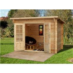 3m x 2m Log Cabin With Double Doors - 28mm Wall Thickness **Includes Free Shingles**