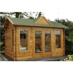4.0m x 3.0m Log Cabin With Double Doors + 3 Large Windows - 34mm Wall Thickness - INSTALLED **Includes Free Shingles**