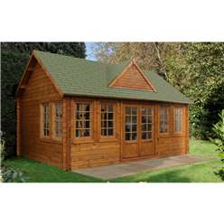 5.5m x 4.0m Log Cabin + 8 Windows - 44mm Wall Thickness - INSTALLED **Includes Free Shingles**