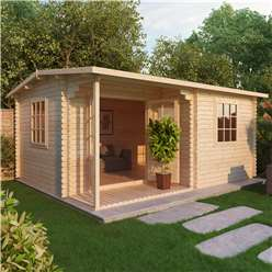 INSTALLED 4m x 3m Deluxe Reverse Log Cabin + Porch (Single Glazing) + Free Floor & Felt & Safety Glass (44mm Tongue and Groove Logs) - INCLUDES INSTALLATION