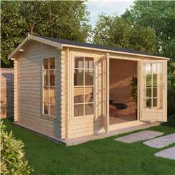INSTALLED 4.5m x 3.5m Deluxe Reverse Log Cabin (Double Glazing)  + Free Floor & Felt & Safety Glass (34mm Tongue and Groove Logs) - INCLUDES INSTALLATION