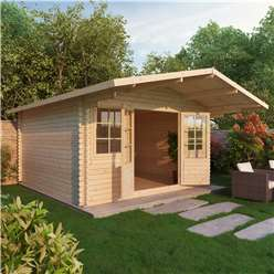 INSTALLED 4m x 4m Deluxe Apex Log Cabin  + Free Floor & Felt & Safety Glass (Double Glazing) (44mm Tongue and Groove Logs) - INCLUDES INSTALLATION