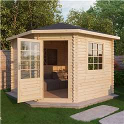 INSTALLED 3m x 3m Deluxe Corner Log Cabin (Double Glazing)  + Free Floor & Felt & Safety Glass (34mm Tongue and Groove Logs) - INCLUDES INSTALLATION