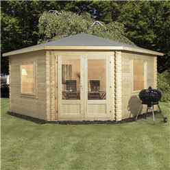 INSTALLED 4m x 4m Deluxe Corner Log Cabin (Double Glazing) + Free Floor & Felt & Safety Glass (44mm Tongue and Groove Logs) - INCLUDES INSTALLATION