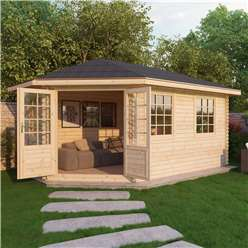 INSTALLED 5m x 3m Deluxe Grande Corner Log Cabin (Double Glazing) + Free Floor & Felt & Safety Glass (34mm Tongue and Groove Logs) **Left - INCLUDES INSTALLATION
