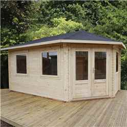 INSTALLED 5m x 3m Deluxe Grande Corner Log Cabin (Single Glazing) + Free Floor & Felt & Safety Glass (44mm Tongue and Groove Logs) **Right - INCLUDES INSTALLATION