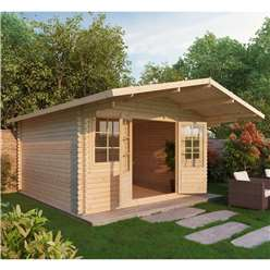 4m x 4m Deluxe Apex Log Cabin + Free Floor & Felt & Safety Glass (Single Glazing) (28mm Tongue and Groove Logs)
