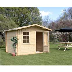 3m x 2.4m Deluxe Apex Log Cabin (Single Glazing) + Free Floor & Felt & Safety Glass (28mm Tongue and Groove Logs)