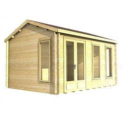 3.5m x 3.5m Deluxe Reverse Apex Log Cabin - Double Glazing - 34mm Wall Thickness (2039)