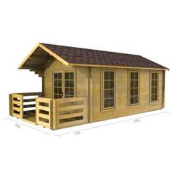 3m x 5m Deluxe Apex Log Cabin - Double Glazing - 34mm Wall Thickness (2017)