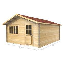 4m x 5m Deluxe Apex Log Cabin - Double Glazing - 34mm Wall Thickness (2068)