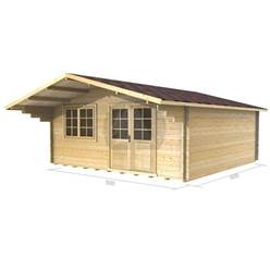 5m x 5m Deluxe Apex Log Cabin - Double Glazing - 34mm Wall Thickness (2148)