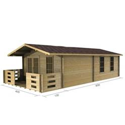 4m x 8m Deluxe Apex Log Cabin - Double Glazing - 34mm Wall Thickness (2049)