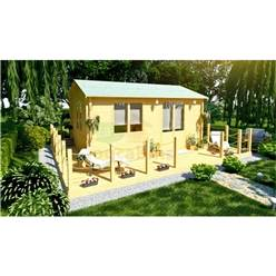 6m x 4m Deluxe Reverse Apex Log Cabin - Double  Glazing - 34mm Wall Thickness (2119)