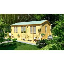 7m x 4m Deluxe Reverse Apex Log Cabin - Double Glazing - 44mm Wall Thickness (5150)