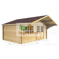 4.5m x 3.0m Deluxe Apex Log Cabin - Double Glazing - 34mm Wall Thickness (2081)