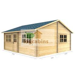 5.5m x 5.0m Deluxe Reverse Apex Log Cabin - Double Glazing - 34mm Wall Thickness (2111)