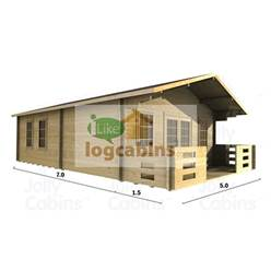 5m x 7m Deluxe Apex Log Cabin - Double Glazing - 44mm Wall Thickness (2097)