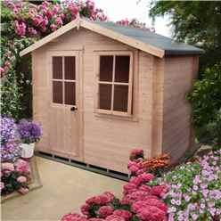 2.69m x 2.69m Superior Log Cabin + Single Door - 19mm Tongue and Groove Logs