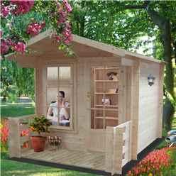 2.69m x 2.69m Superior Log Cabin + Canopy - 19mm Tongue and Groove Logs + Optional Veranda