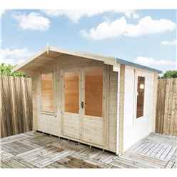 3.29m x 2.99m Superior Log Cabin + Double Doors - 19mm Tongue and Groove Logs