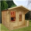 2.50m x 2.72m Value Log Cabin Including Veranda + Free Floor & Felt & Safety Glass (19mm Tongue and Groove)