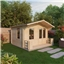 3.29m x 3.78m Value Log Cabin Including Verandah  + Free Floor & Felt & Safety Glass (19mm Tongue and Groove)
